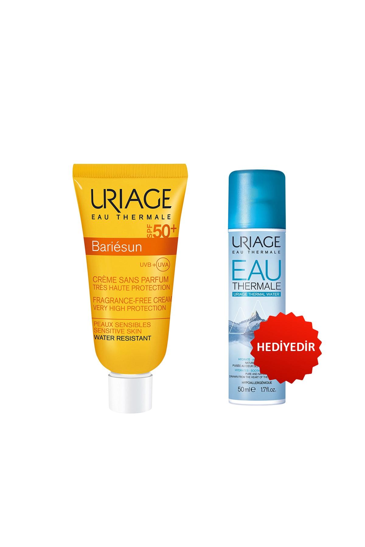 Uriage Bariésun Spf50+ Cr Ss Parf T 50 ml (Parfüm İçermeyen Güneş Kremi) + Eau Thermale D Uriage Sp 50 ml