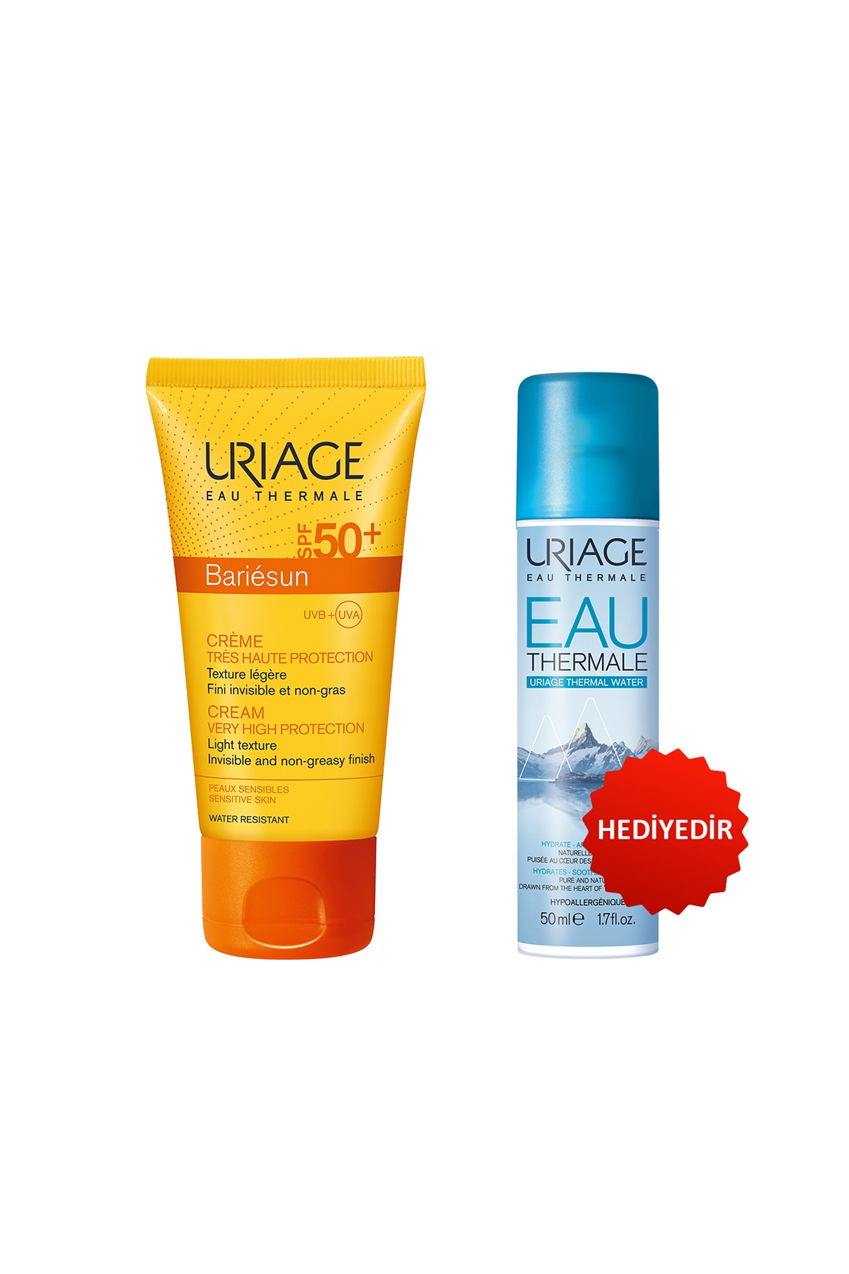 Uriage Bariésun Spf50 + Creme 50 ml & Thermale Water 50 ml + Eau Thermale D Uriage Sp 50 ml