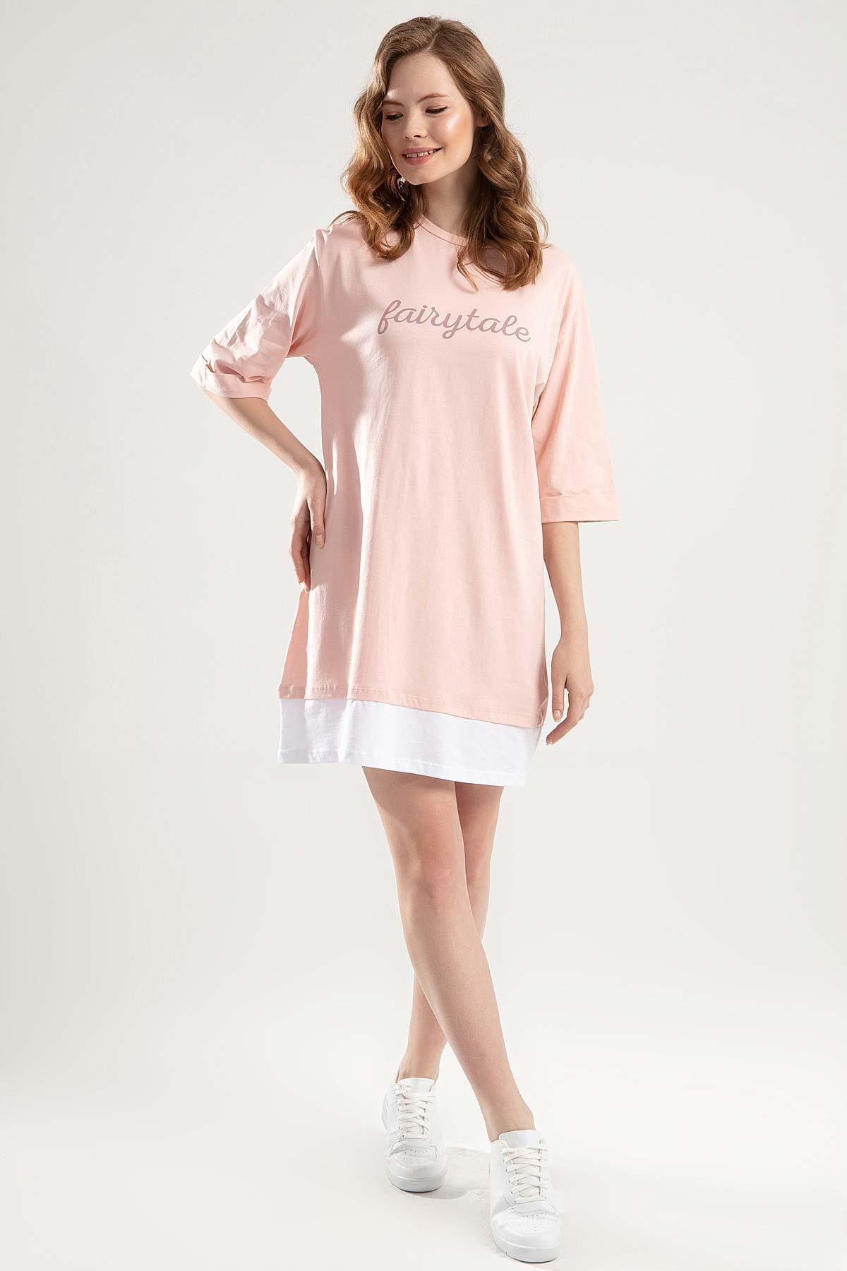 Y-London Kadın Pudra Duble Kol Biyeli Tişört Elbise Y20S110-4155 1