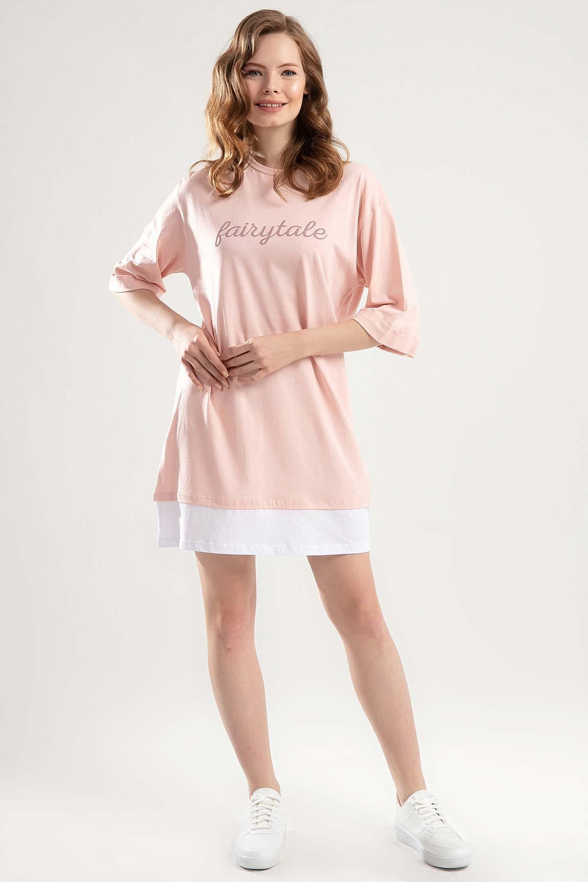 Y-London Kadın Pudra Duble Kol Biyeli Tişört Elbise Y20S110-4155 2