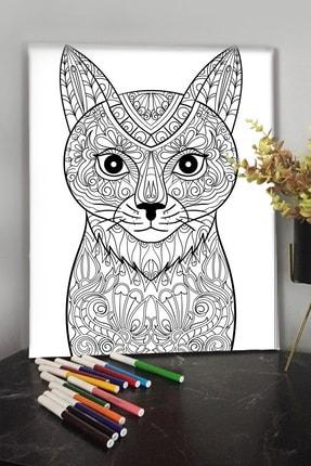 KanvasSepeti Kedi 1 40x30cm Çocuklar Için Özel Boyanabilir Tablo Tuval Mandala 12li Keçeli Kalem