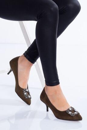 modaninfrekansı Christy Topuklu Ayakkabı Haki Süet