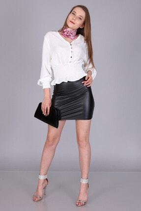 Mi&So Kadın Deri-Siyahderi Mini Etek M&S6039Der