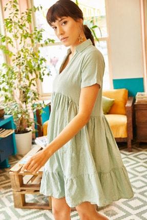Olalook Kadın Mint Gömlek Yakalı Cepli Kloş Keten Elbise ELB-19001115