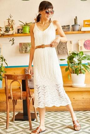 Olalook Kadın Ekru Astarlı Yazlık Triko Elbise ELB-19001113