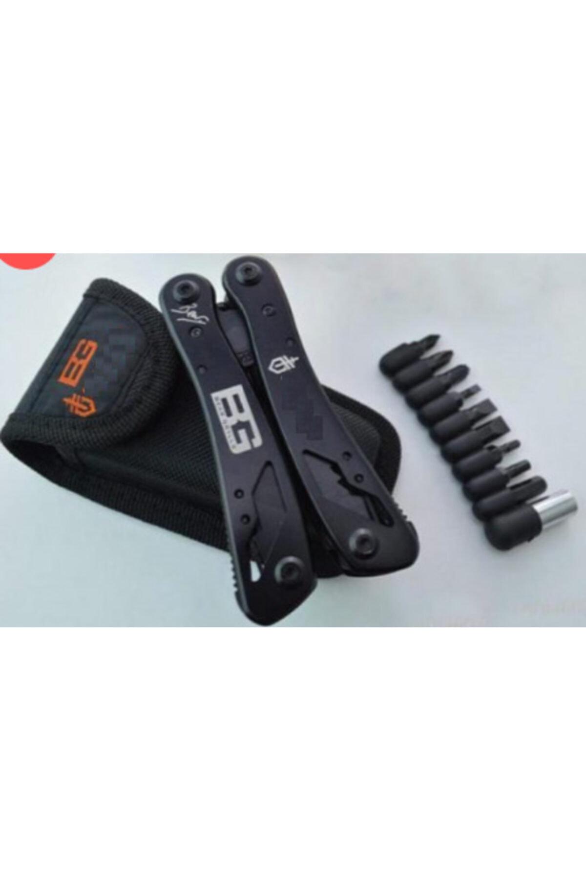 BG Bear Grylls Çakı Bıçak Tornavida Bileyici Kesici Anahtar Özellikli Fonksiyonlu Pense 2