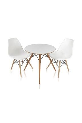 Dorcia Home Yuvarlak Eames Ahşap Ayaklı Ahşap Masa 2 Adet Beyaz Eames Sandalye Seti