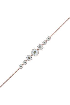 Gümüş Pazarım Papatya Motifli Süzme Gümüş Bileklik