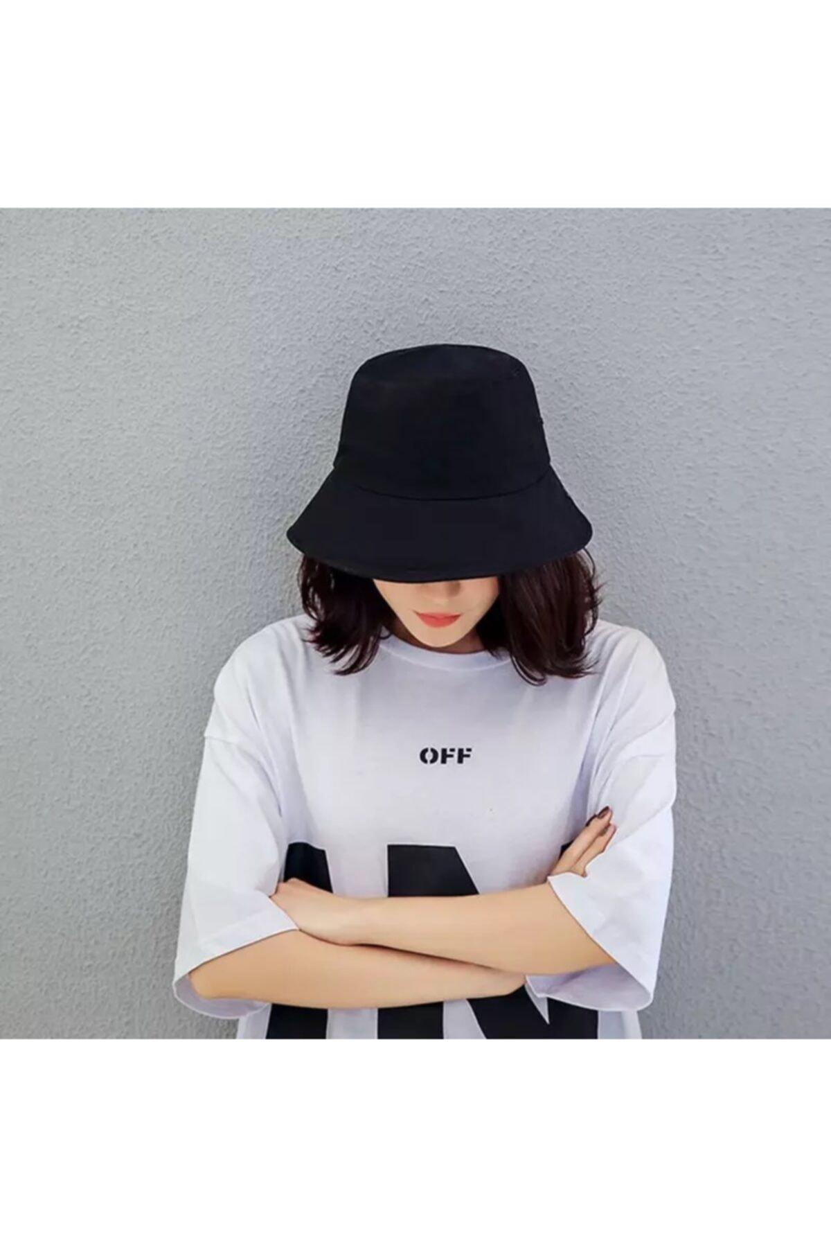 Köstebek Düz Siyah Kova Şapka Balıkçı Şapka Bucket Hat 2