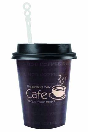 Kullan At Market Roll-up Kapaklı Karton Kahve Çay Bardağı Ve Karıştırıcı Set