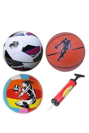 Liggo Çocuk Futbol Topu Voleybol Topu Basketbol Topu Seti Pompa