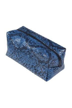 Badem10 Kapitone Yılan Timsah Desenli Dokulu Deri Makyaj Çantası 17 cm -Yılan Desenli-Mavi
