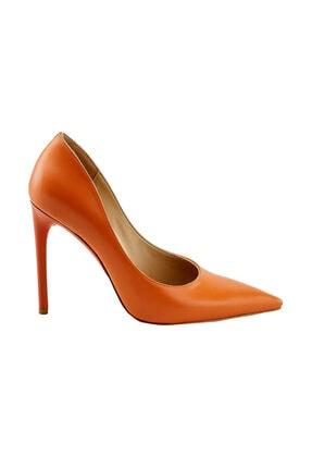 LuviShoes 319 Turuncu Cilt Kadın Topuklu Ayakkabı
