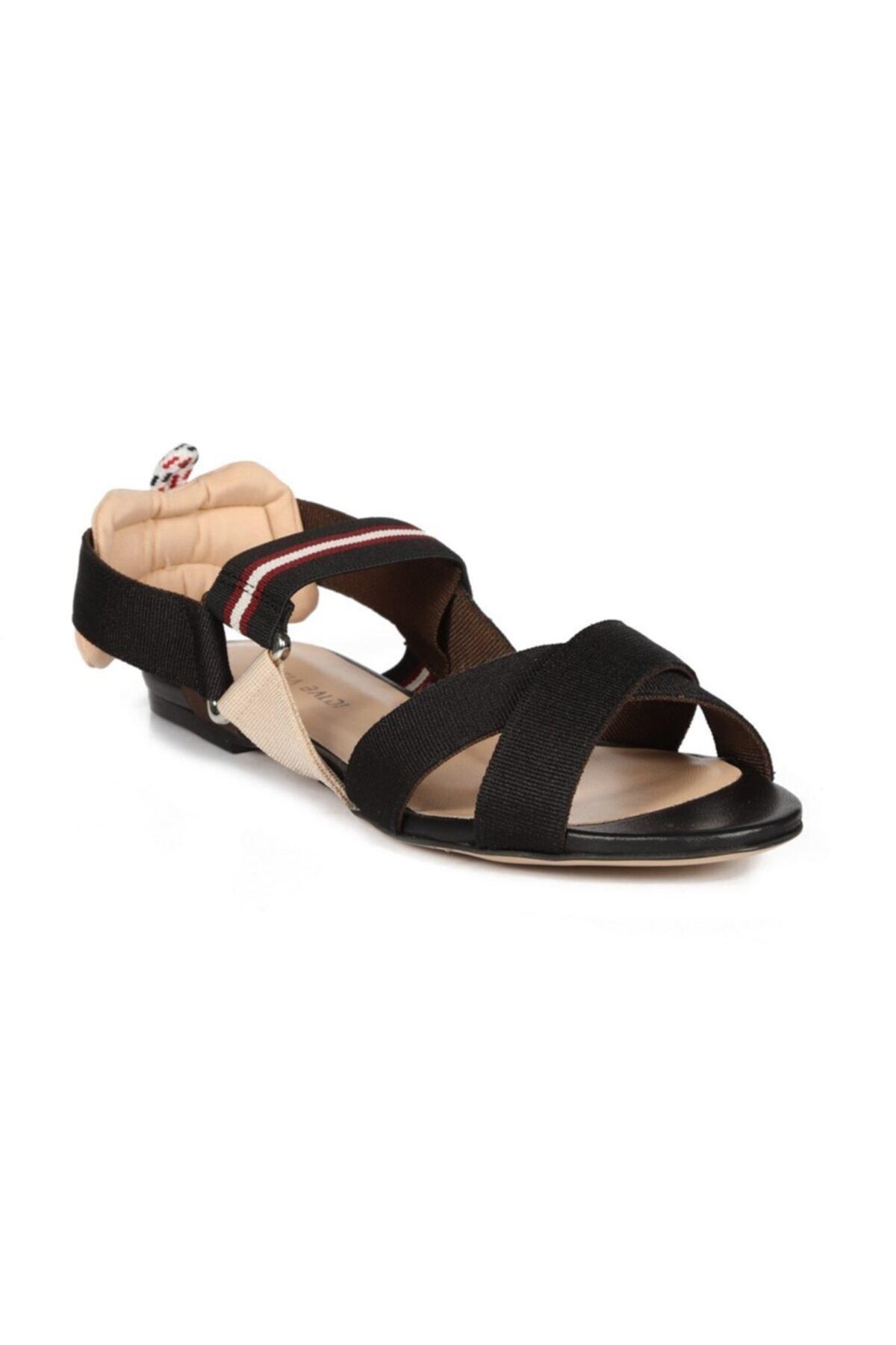 Sofia Baldi Semanta 2 Siyah Kumaş Kadın Düz Sandalet 2