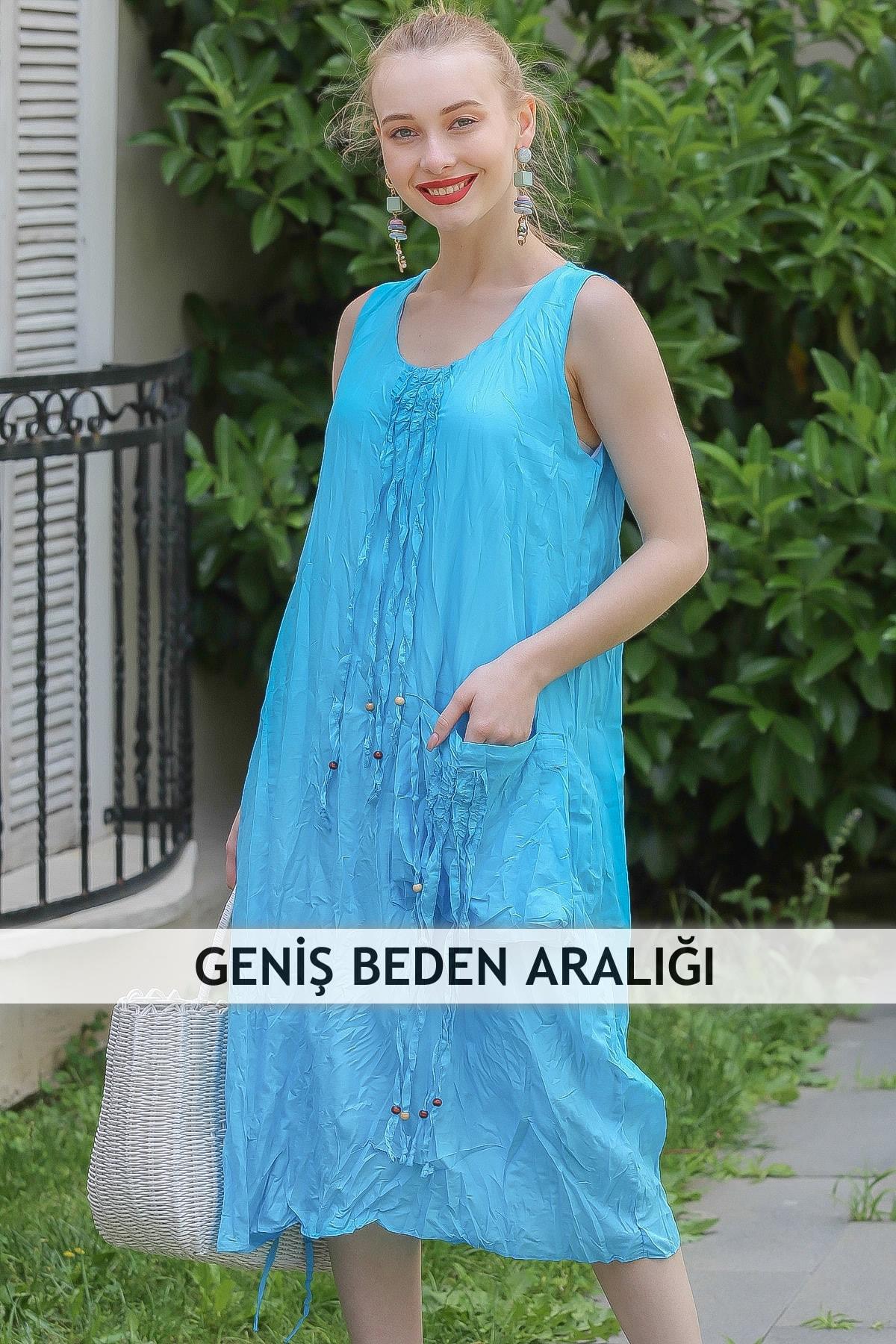 Chiccy Kadın Turkuaz Bohem Dev Cep Detaylı Yanı Büzgülü Astarlı Elbise M10160000El96802