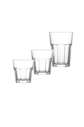 LAV Aras Bardak Takımı Su Seti 18 Parça Meşrubat Bardağı