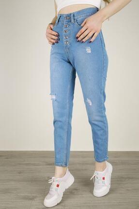 Z GİYİM Kadın Yırtık Model Düğme Detaylı Boyfriend Kot Pantolon Açık Mavi-33