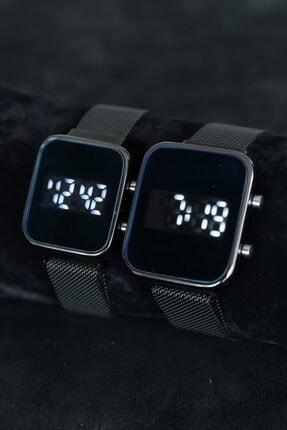 Spectrum Sevgili Saati Çift Kombin Siyah Renk Hasır Metal Kordonlu Dijital Led Ekran