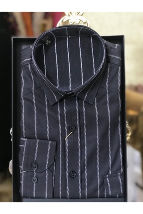 Bagozza Erkek Gömlek Slim Fit Uzun Kollu Siyah