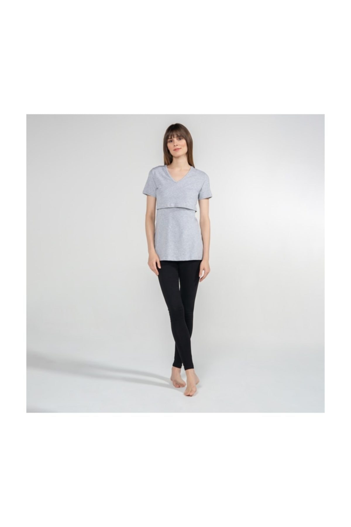 Funna Baby V-Yaka Emzirme T-Shirt - Nora - Gri 1