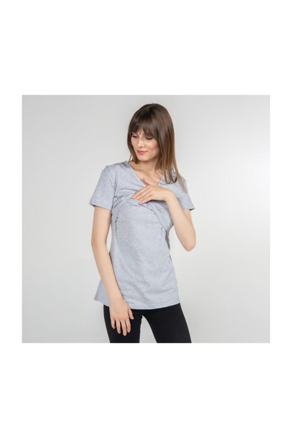 Funna Baby V-Yaka Emzirme T-Shirt - Nora - Gri 2
