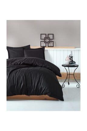 İpekçe Home Elegant Stripe Saten Nevresim Takımı Çift Kişilik Siyah