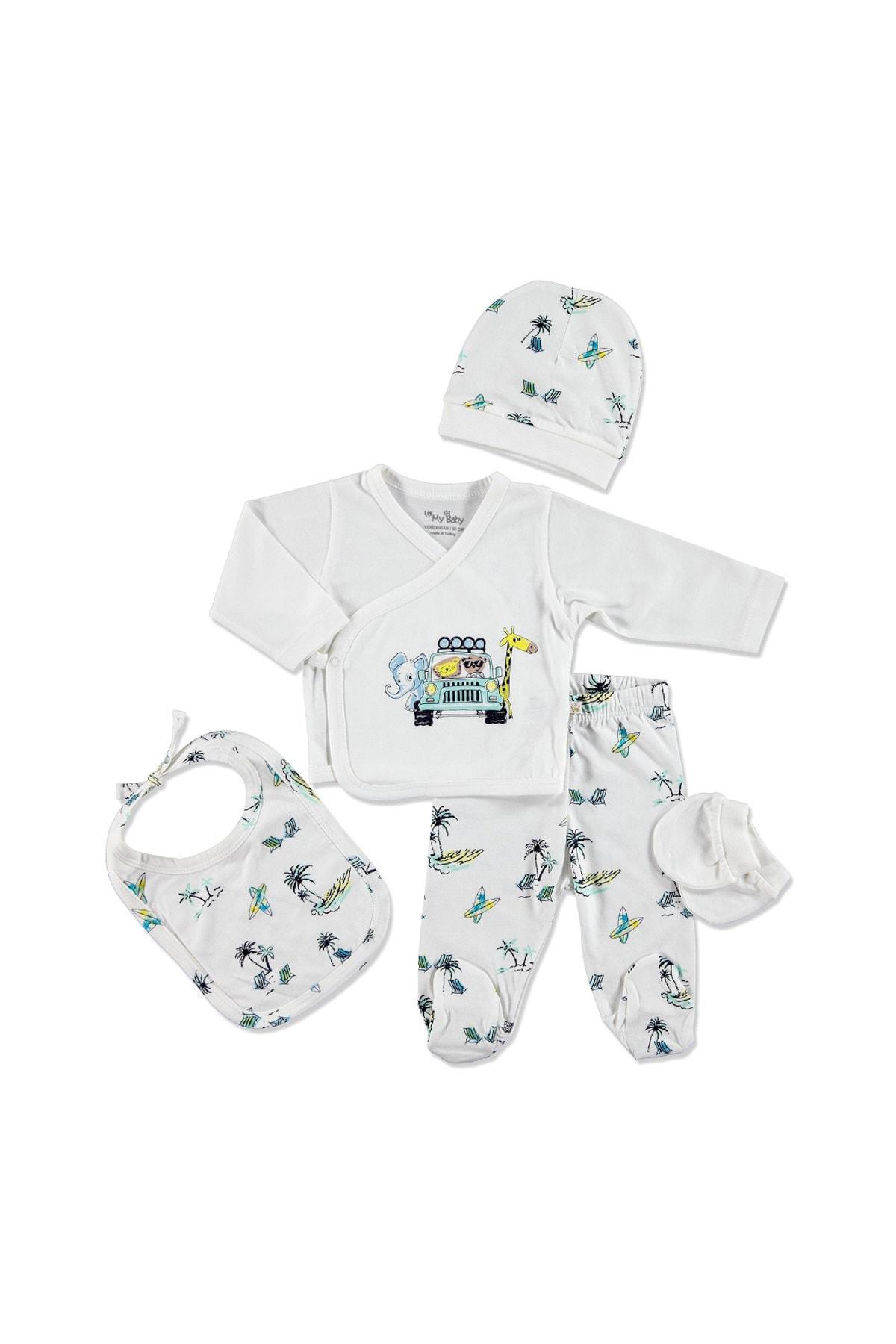 For My Baby 20902 Sörf Pamuklu Erkek Bebek 5'li Hastane Çıkışı 1