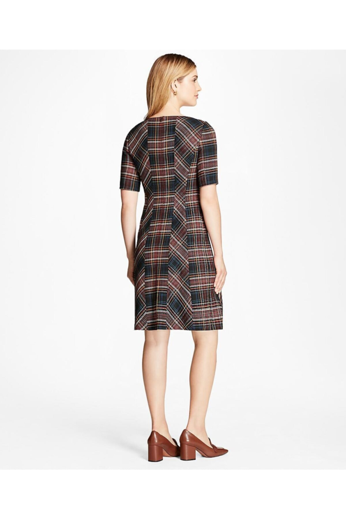 BROOKS BROTHERS Kadın Lacivert/kırmızı Ekose Elbise 2