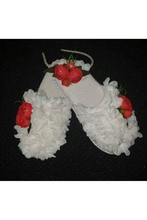 KRVLohusa Hediyelik Lohusam Özel Tasarım Kırmızı Şakayık Beyaz Lazer Çiçekli Lohusa Terlik Ve Taç Takımı