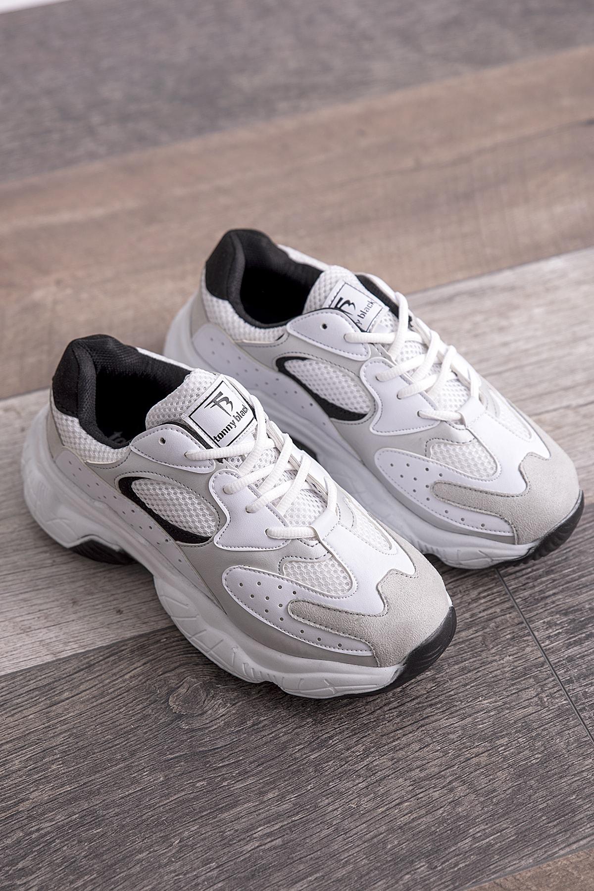 Tonny Black Beyaz Gri Kadın Spor Ayakkabı Beyaz Gri Tb284 1