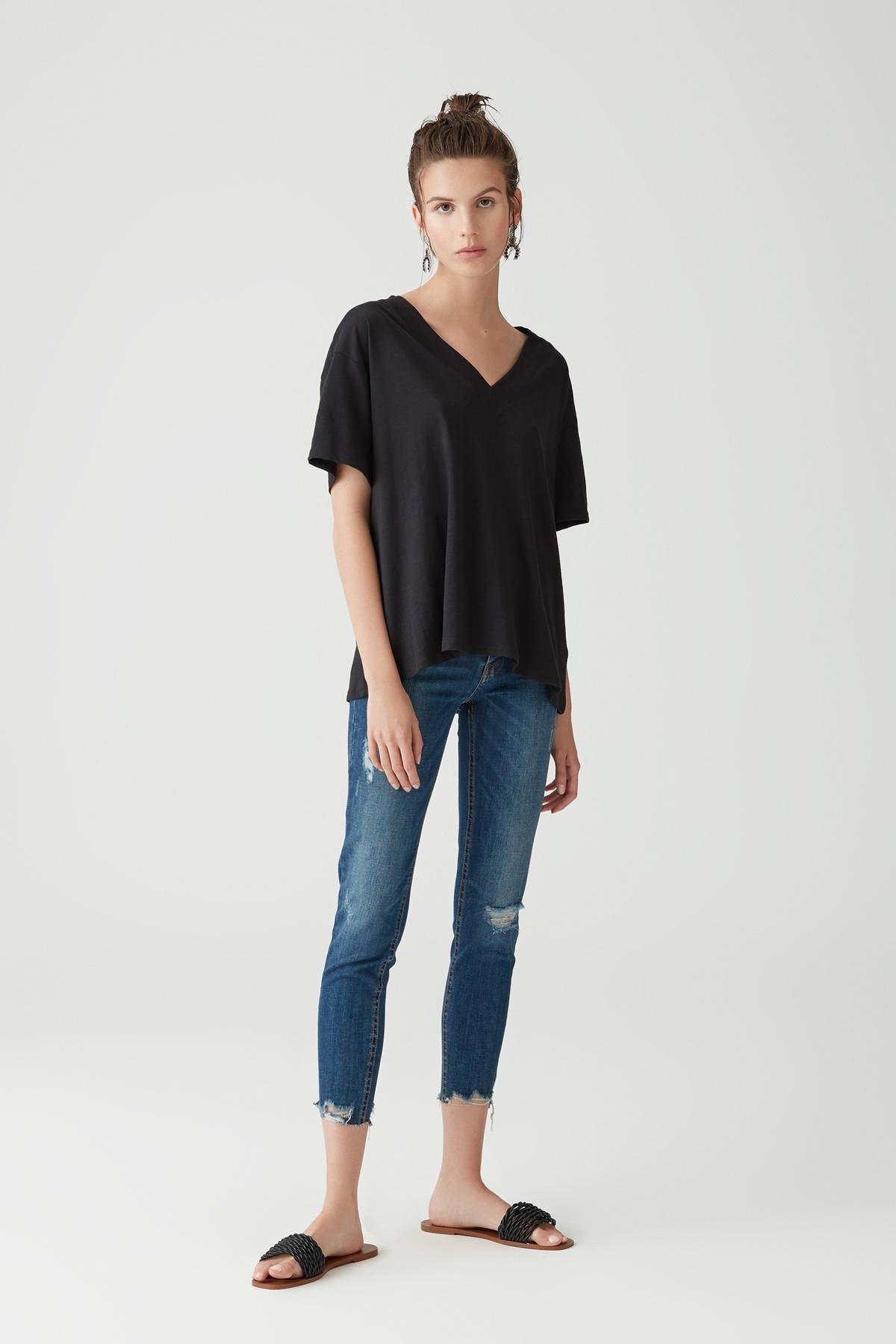 Pull & Bear Kadın Siyah Basic Oversize Düğümlü Örgü T-Shirt 05236324 2