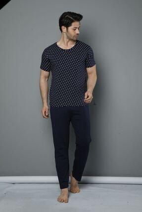 Siyah İnci Kısa Kollu Pamuklu Likralı Pijama Takım