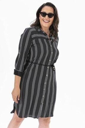By Saygı Çizgili Gömlek Büyük Beden Elbise Siyah