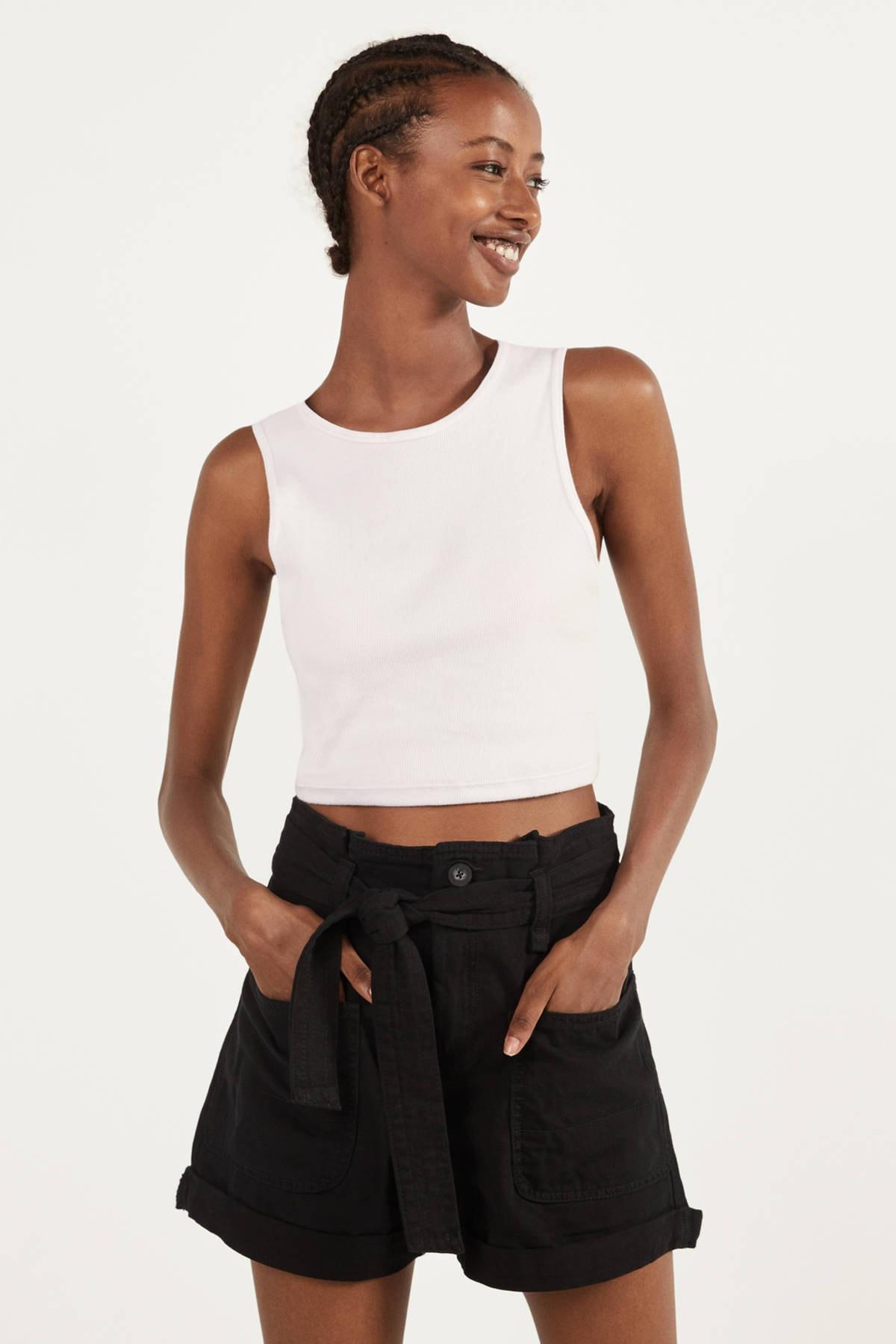 Bershka Kadın Siyah Kemerli Paperbag Şort 02547019