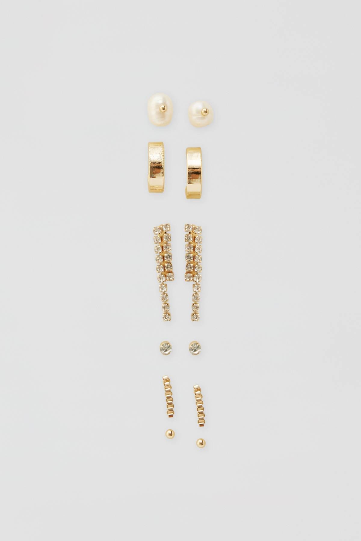 Pull & Bear Kadın Altın Rengi Parlak Taşlı Küpe Seti 05992314 1