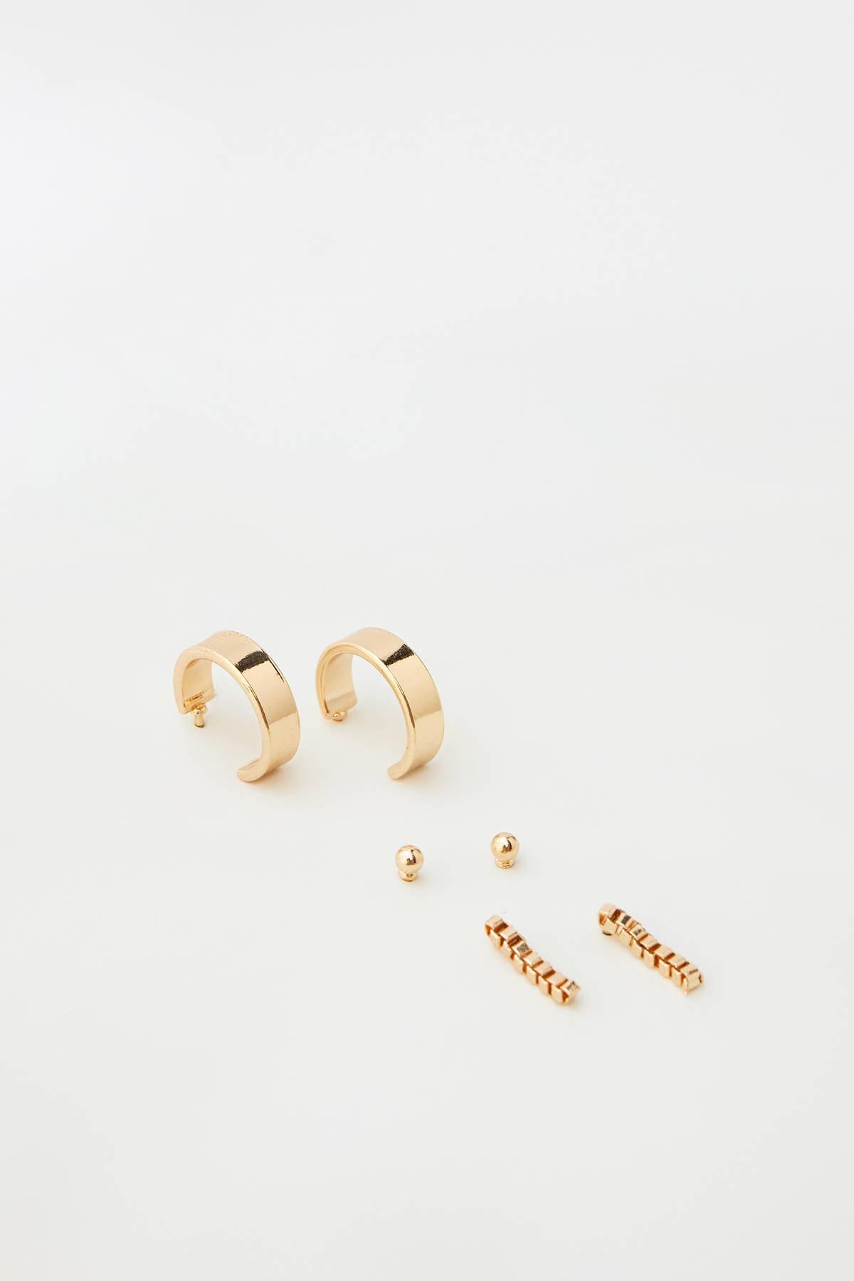 Pull & Bear Kadın Altın Rengi Parlak Taşlı Küpe Seti 05992314 2