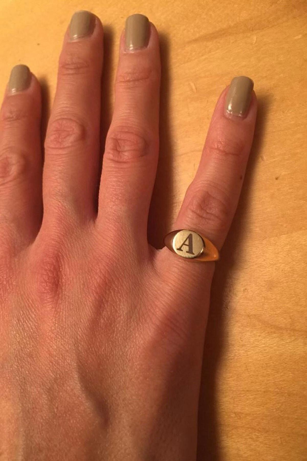Papatya Silver 925 Ayar Rose Altın Kaplama Ayarlanabilir Gümüş Harf Yüzük 1