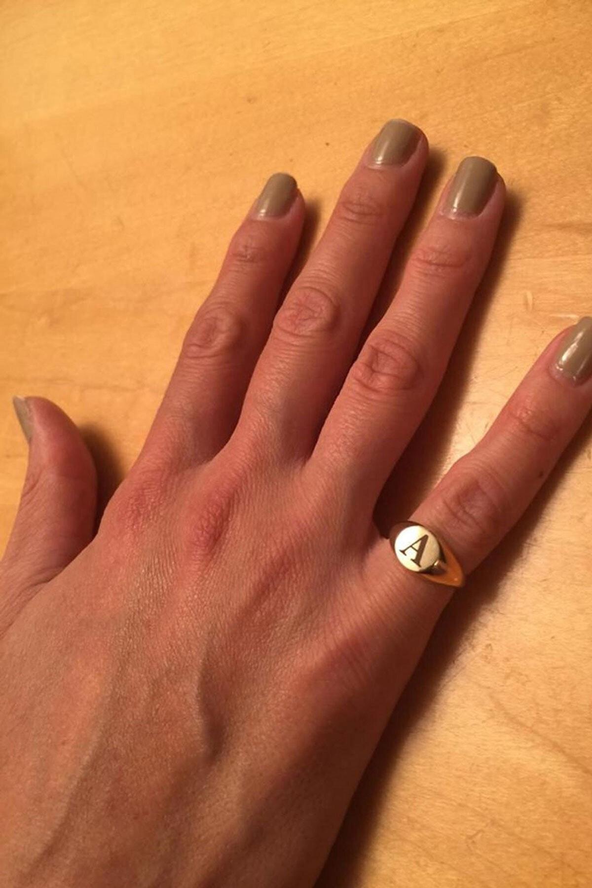 Papatya Silver 925 Ayar Rose Altın Kaplama Ayarlanabilir Gümüş Harf Yüzük 2