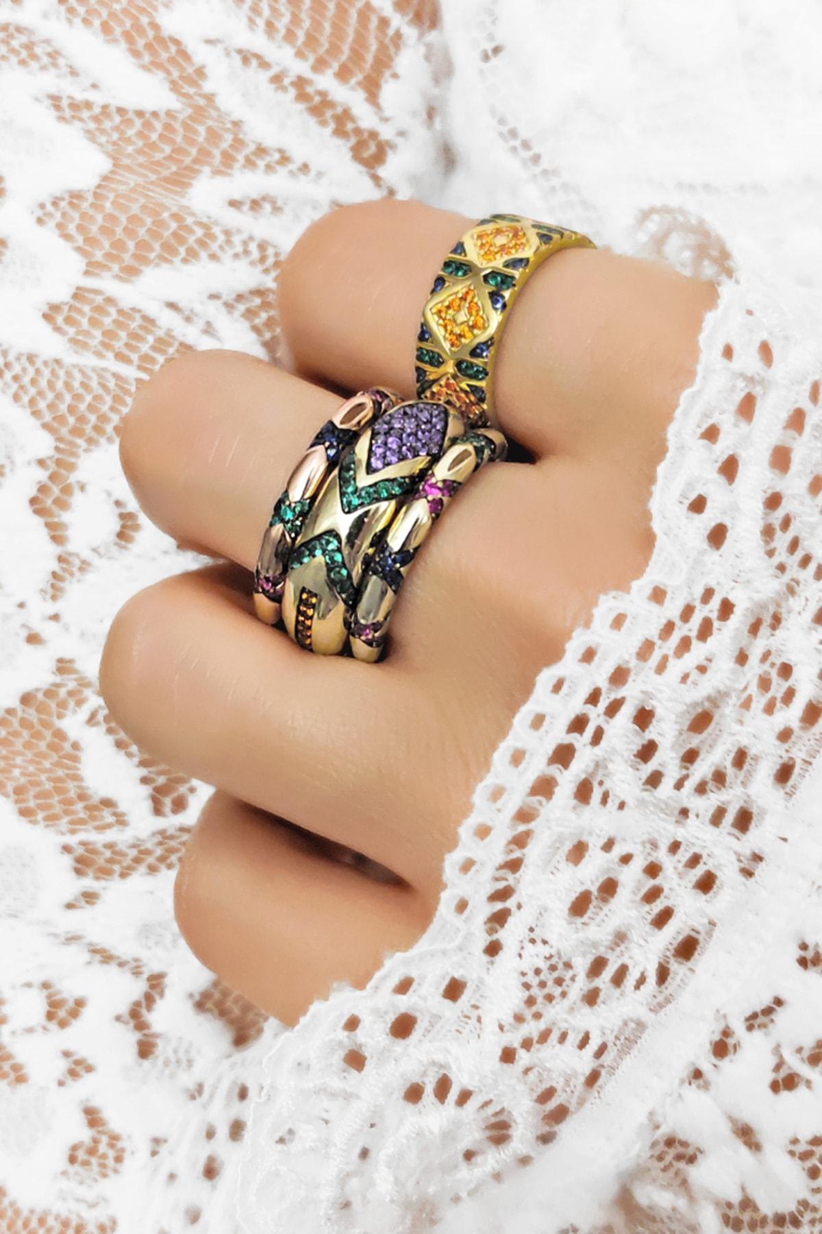 Melmona Çapraz Renkli Zirkon Taşlı Rose Gümüş Yüzük 1