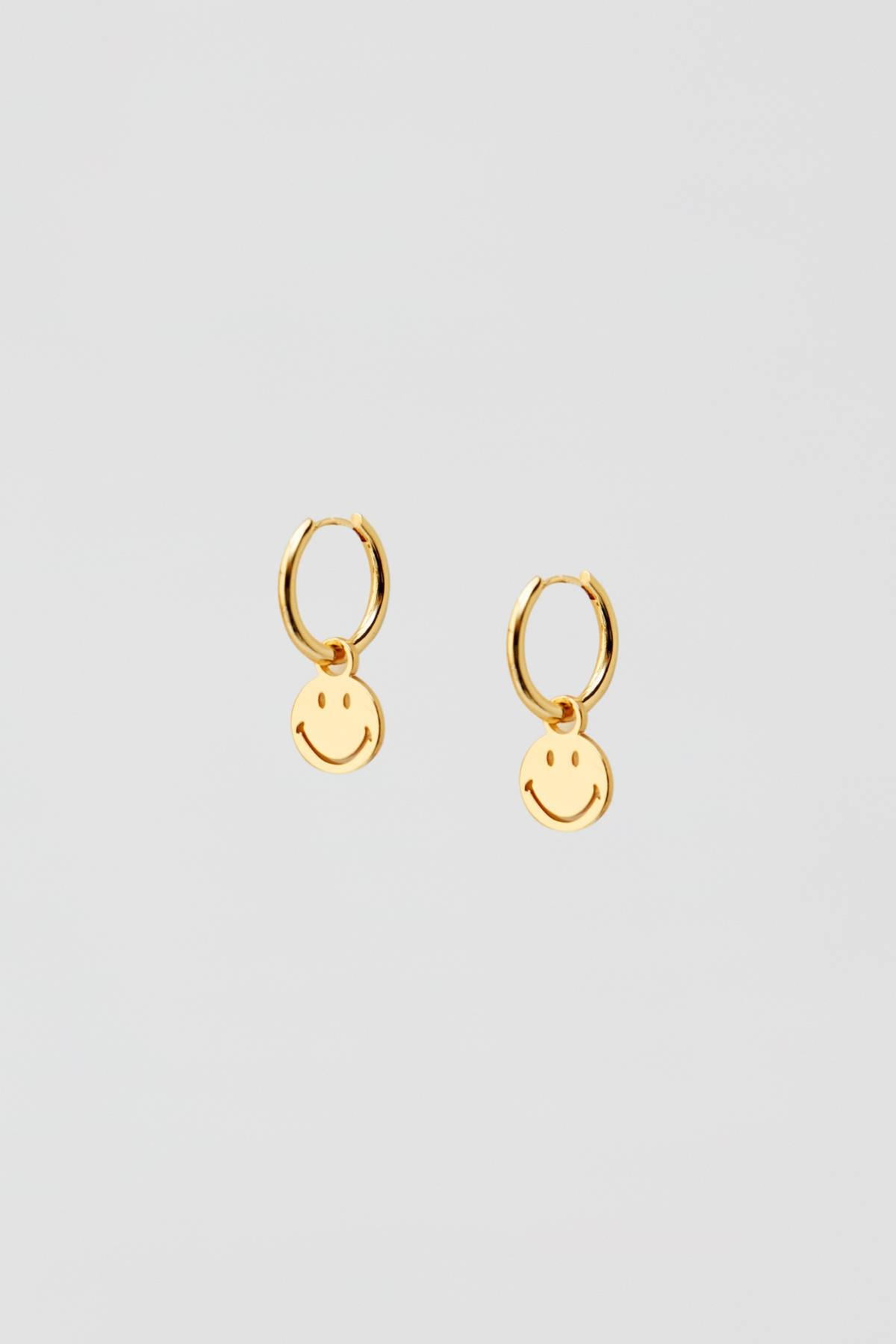Pull & Bear Kadın Altın Rengi Altın Kaplama Smiley Küpe 05992316 1