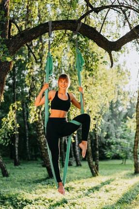 Svava Yoga Fly Hamağı, Antigravity Askılı Yoga Denge Spor Aleti yeşil