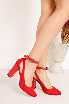 Moda Eleysa Lillian Topuklu Kırmızı Süet Ayakkabı