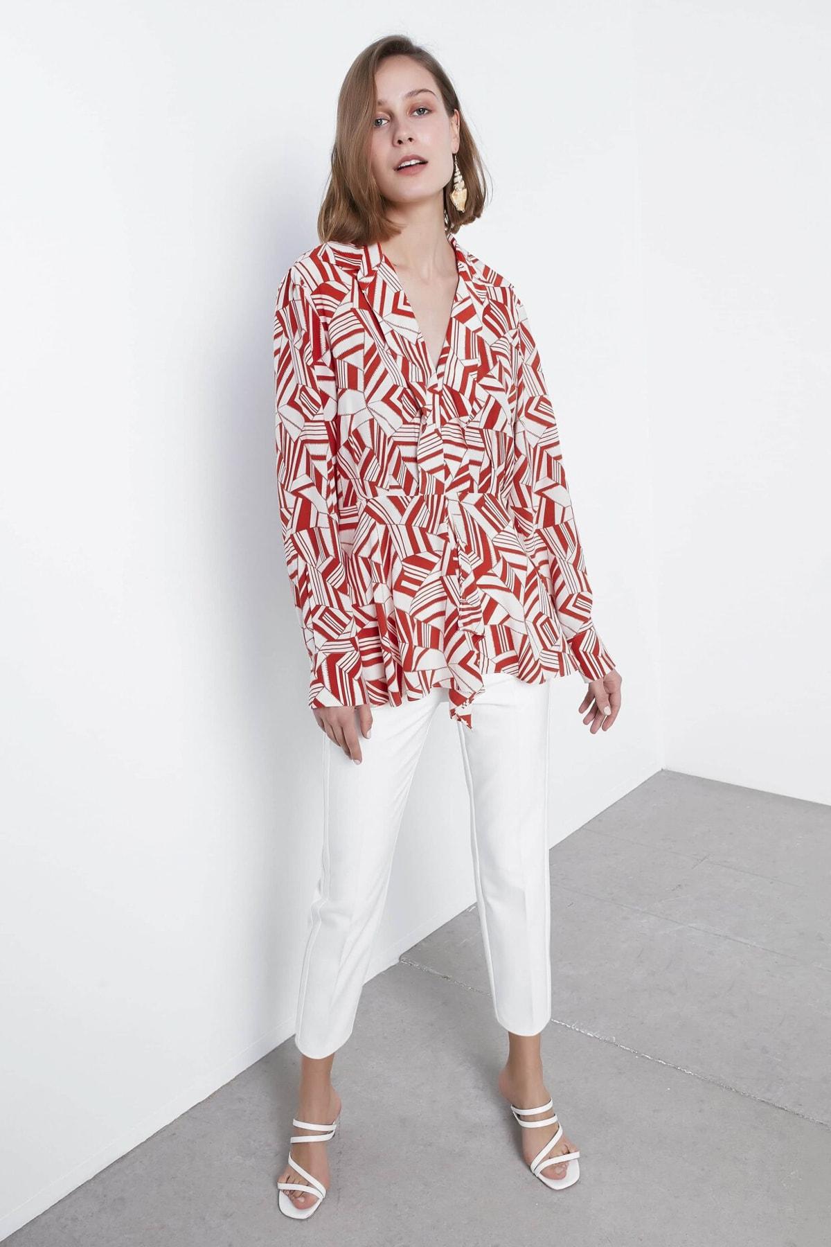 İpekyol Kadın Turuncu Desenli Bluz IS1200006111054 1