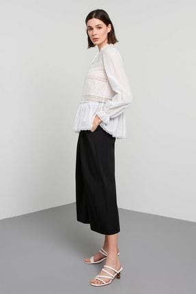 Machka Kadın Beyaz Şerit Dantel Ve Yakası Biye Bağlama Detaylı Ekose Vual Bluz MS1200006002002