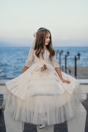 MIALORA EXCLUSIVE Ekru, Kolyeli Ve Duvaklı, Pamuklu Vintage Elbise