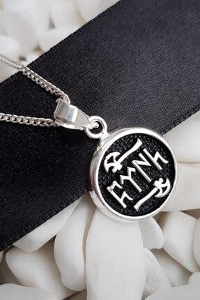 Gümüş Pazarım Göktürkçe Türk Yazılı Erkek Gümüş Kolye