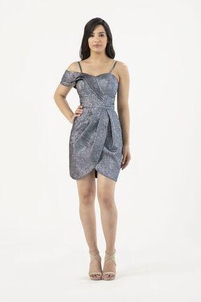 MAXXE Kadın Mavi Kısa Brokar Elbise