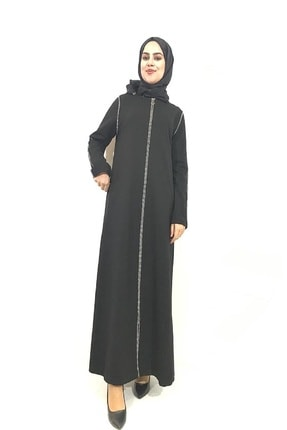 Orhan Şerit Detaylı Siyah Ferace 140 cm