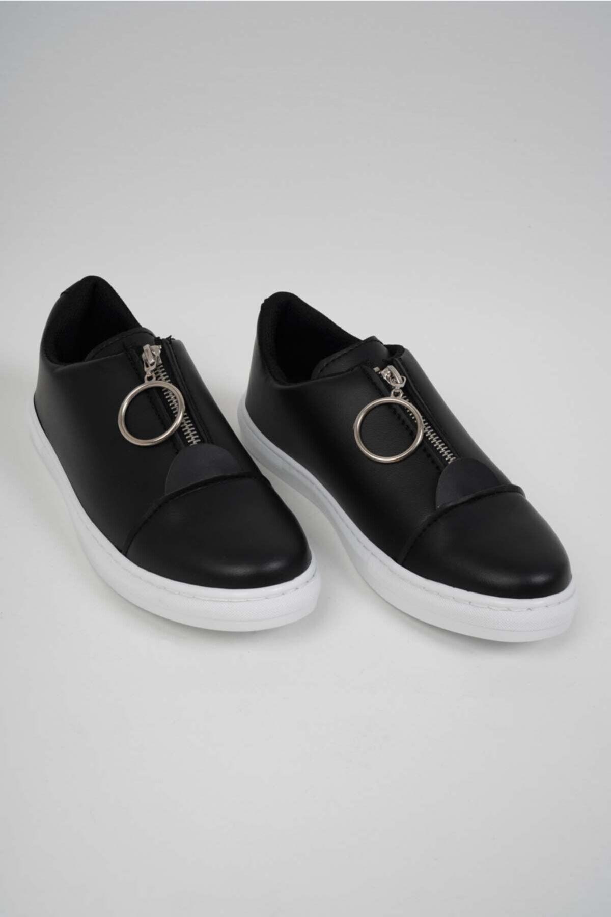 KÖSE AYAKKABI Kadın Siyah Önden Fermuarlı Ayakkabı 1