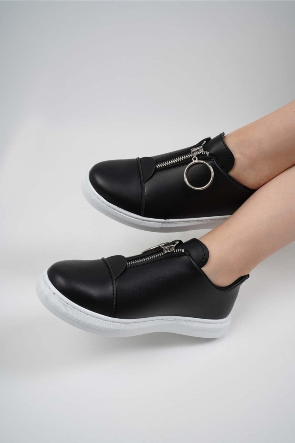 KÖSE AYAKKABI Kadın Siyah Önden Fermuarlı Ayakkabı 2